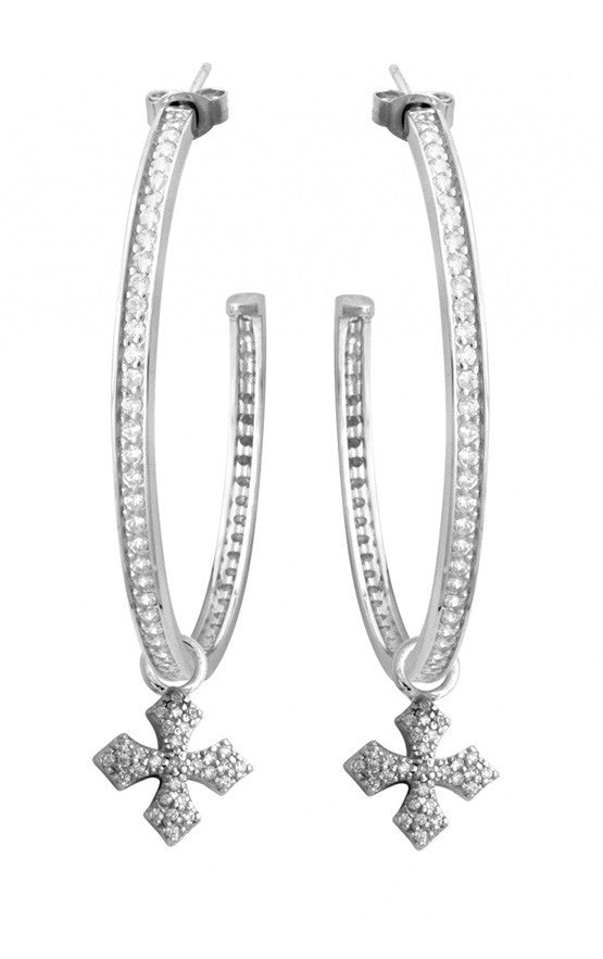 Large Pave CZ MB Cross Hoops