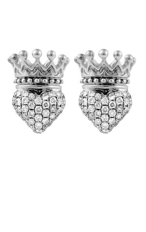 Crowned Heart Post Earring Pave CZ