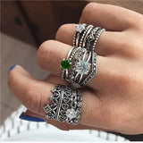 Rings Opal Women Bohemian Vintage Crown Wave Flower Heart Leaf Crystal Joint Party Silver Ring Sets