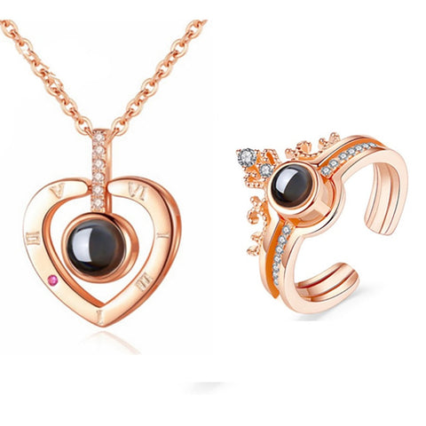 Valentine or Romantic Heart Necklace & matching Ring Set Projection I Love You SET