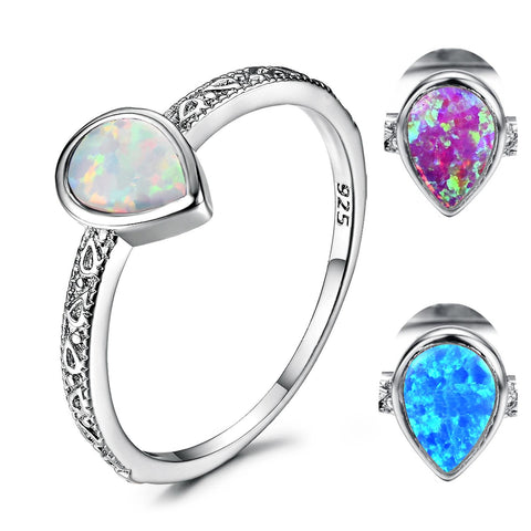 Rings Fire Opal Luxury 925 Sterling Silver Jewelry Water Drop Birthstone Ring women fashion