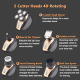 Trending Stay at Home Men Bald Head Shaver 5 in 1 Electric Shaver Kit Cordless Waterproof USB Rechargeable