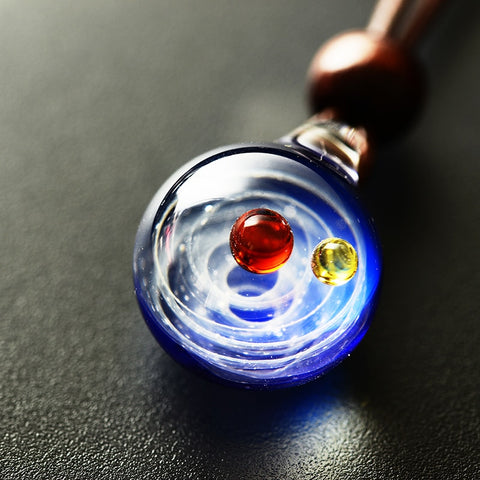 Necklace Nebula Cosmic Handmade Galaxy Glass Pendant with Rope Lucky Men Women Couple Jewellery