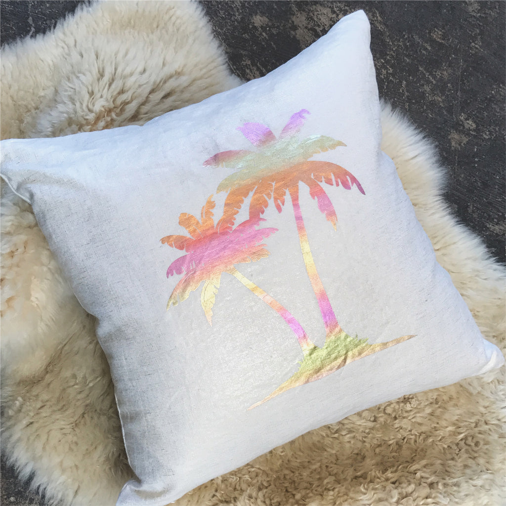Metallic Linen Palm Tree Pillow