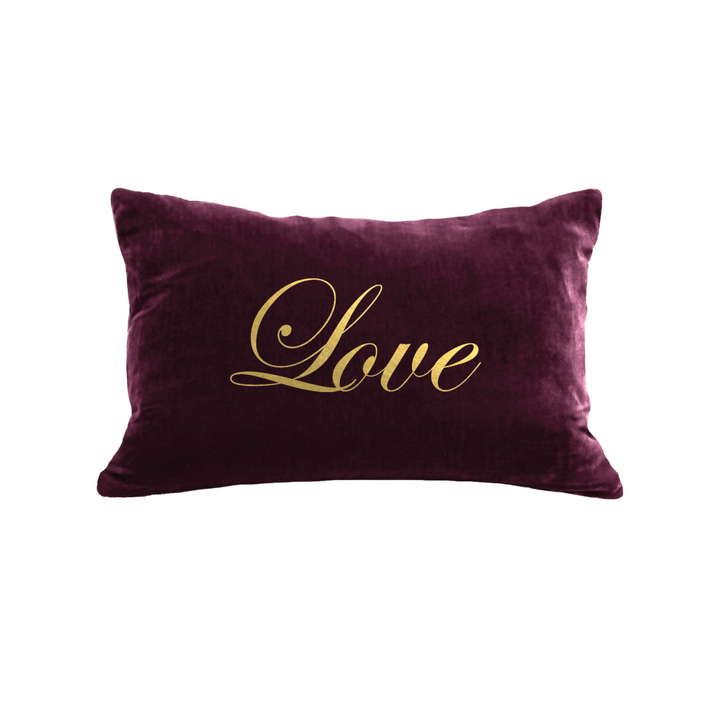 Script Love Pillow - berry / gold foil