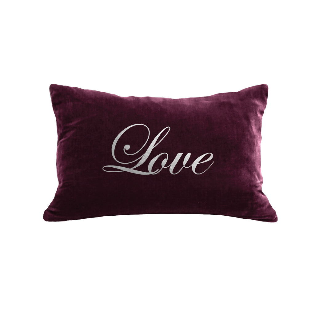 Script Love Pillow - berry / gunmetal foil