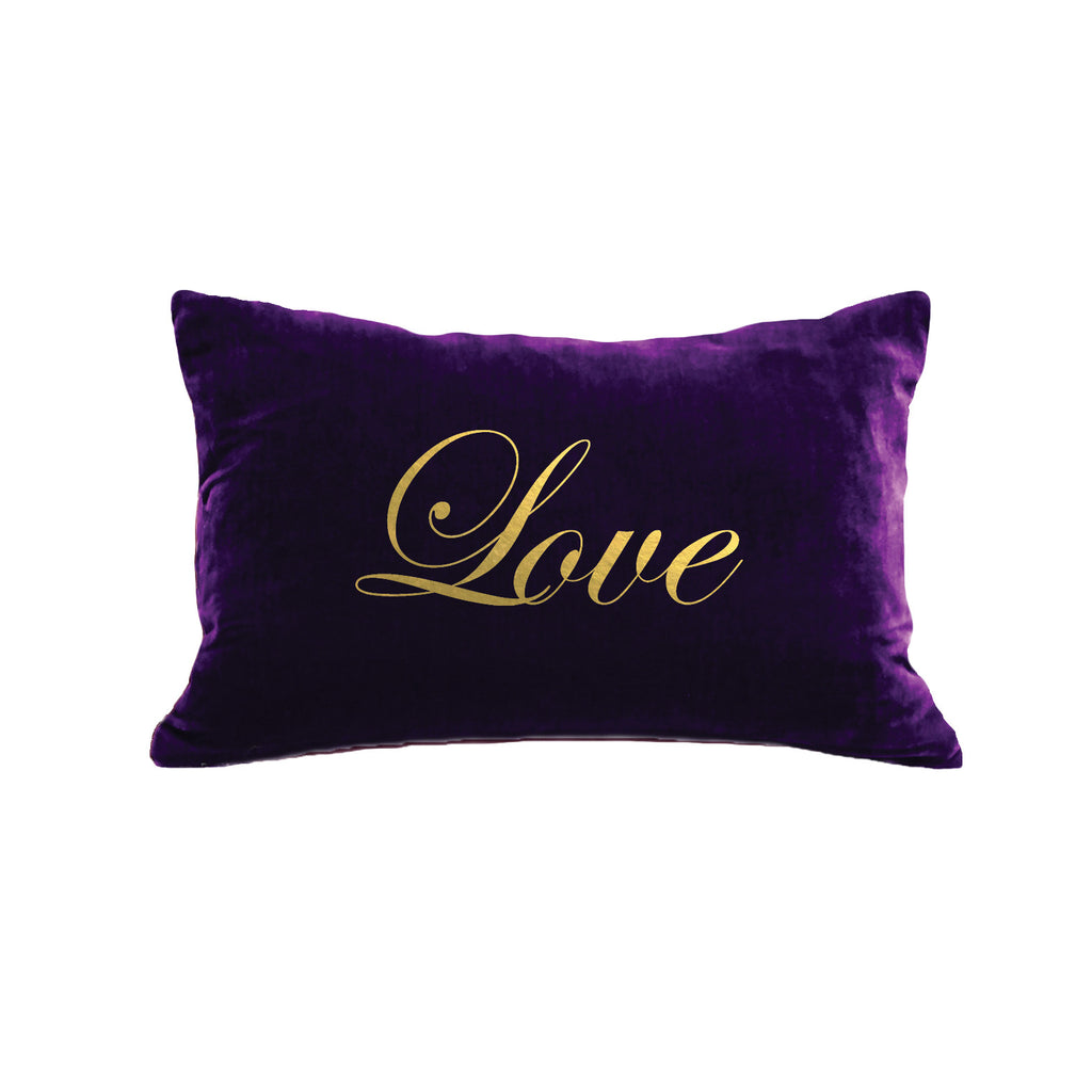 Script Love Pillow - grape / gold foil