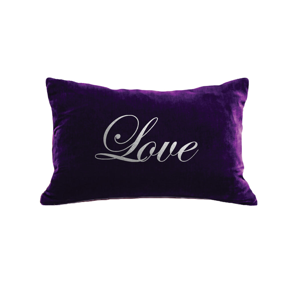 Script Love Pillow - grape / gunmetal foil