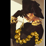 80s Robert Lee Morris 24kt Matte Gold Shell Necklace