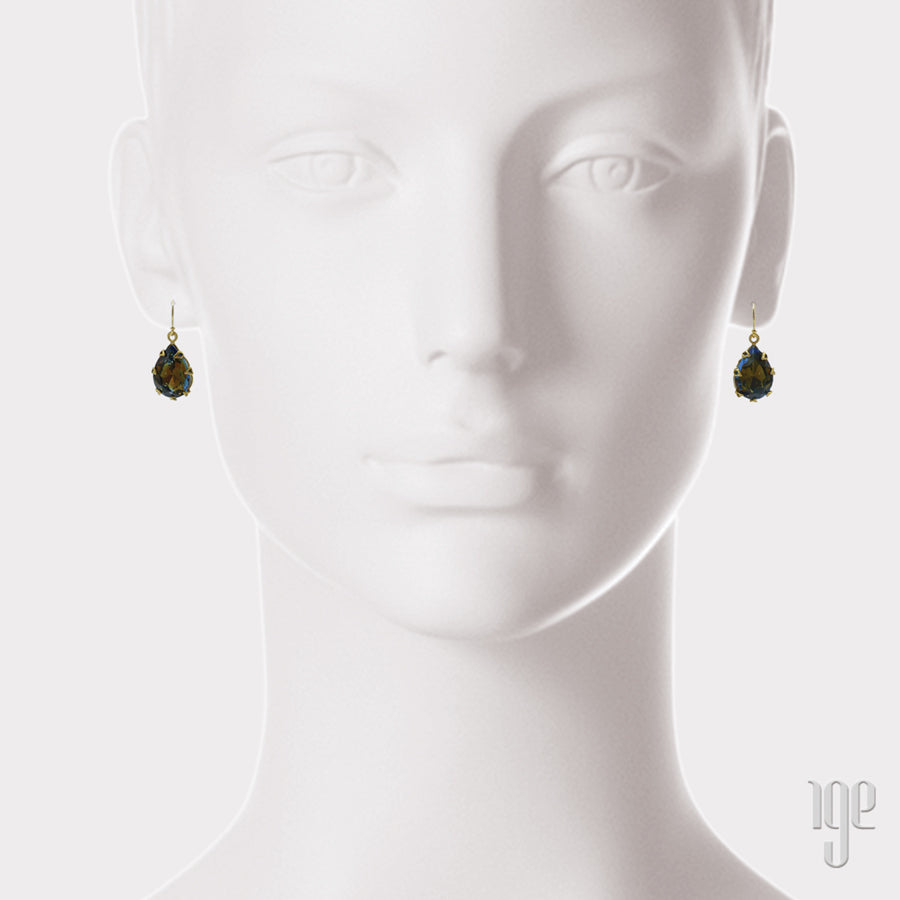 50's Revival Vintage Teardrop Crystal Earrings