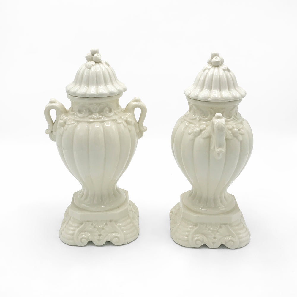 50s Ivory Ceramic Urns | Set of 2