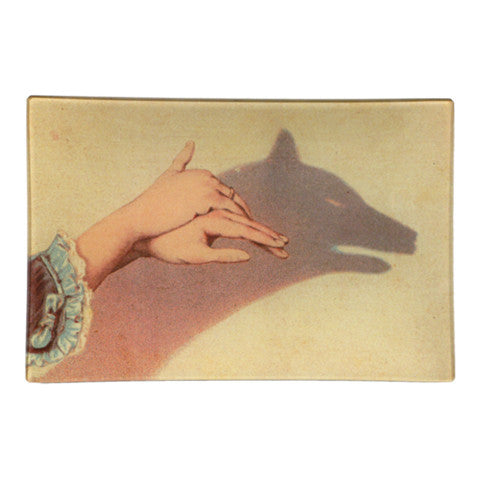 "Wolf Shadow Puppet Tray - 9"" x 6"" Rectangle"