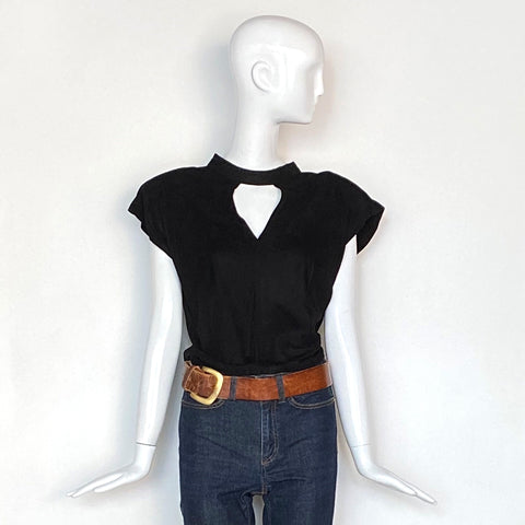 80s Contempo Casuals Back Suede Open Back Top