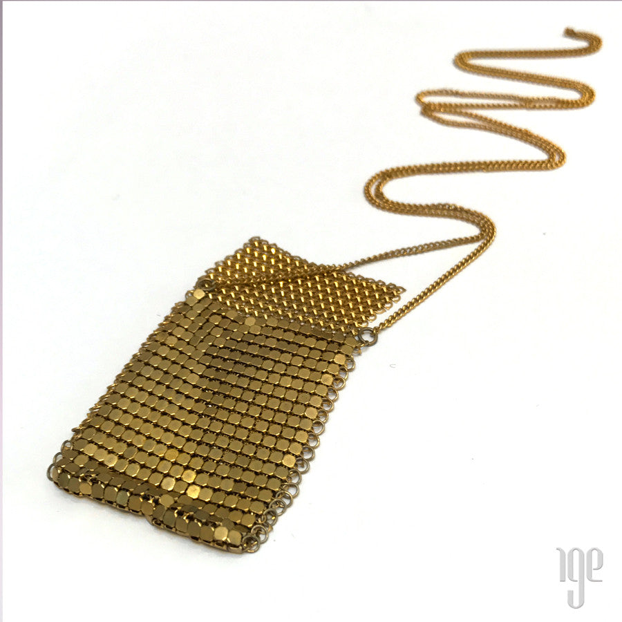 80s Brass Mesh Disc Pouch Necklace