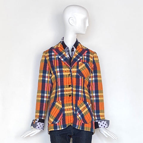 70's Seersucker Navy Orange Madras Three Button Blazer