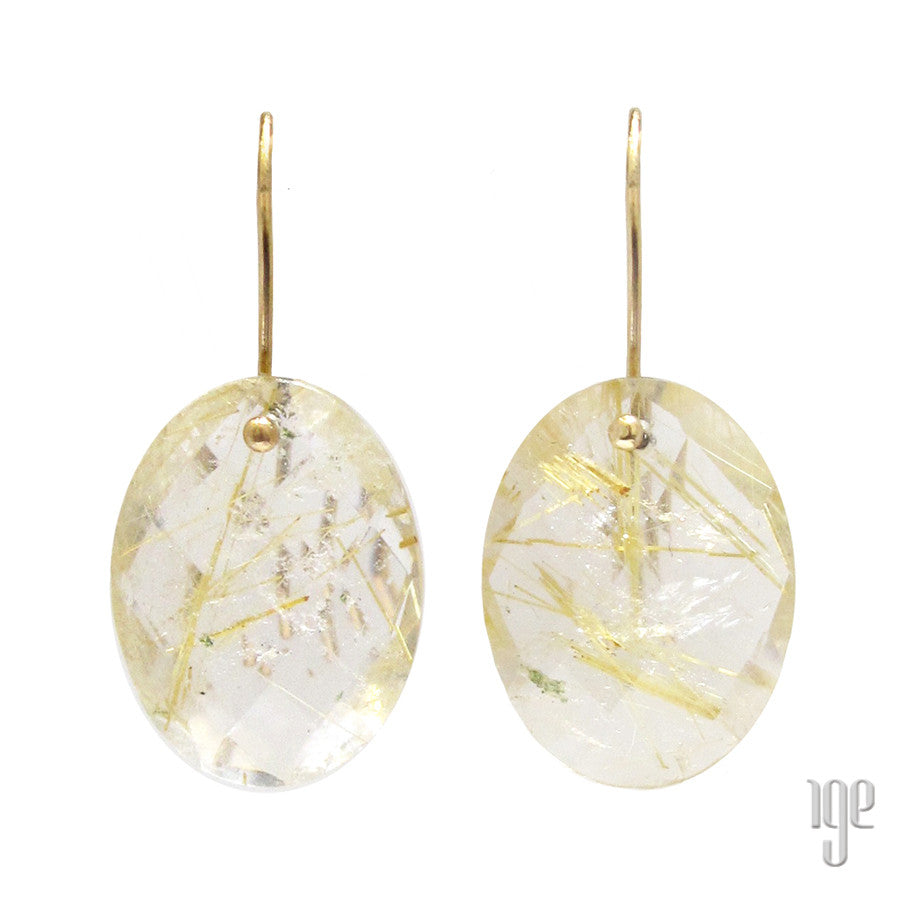 Rutilated Quartz Crystal Oval Faceted Earrings