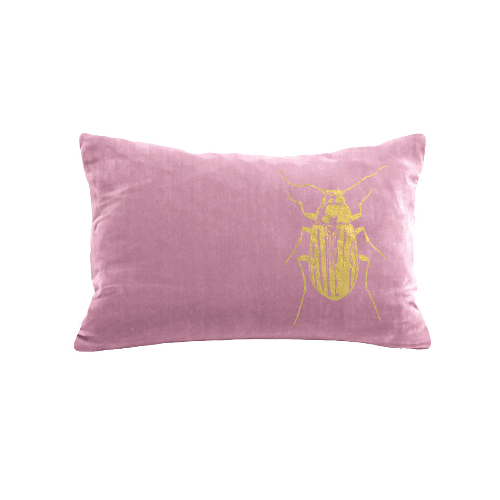 Beetle Pillow - antique pink / gold foil / 12 x 16""