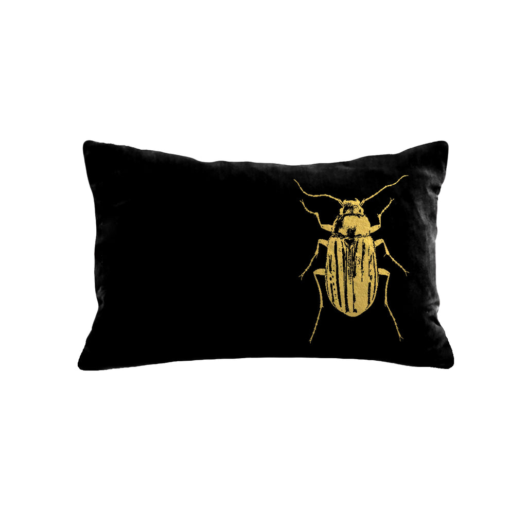 Beetle Pillow - black / gold foil / 12 x 16""