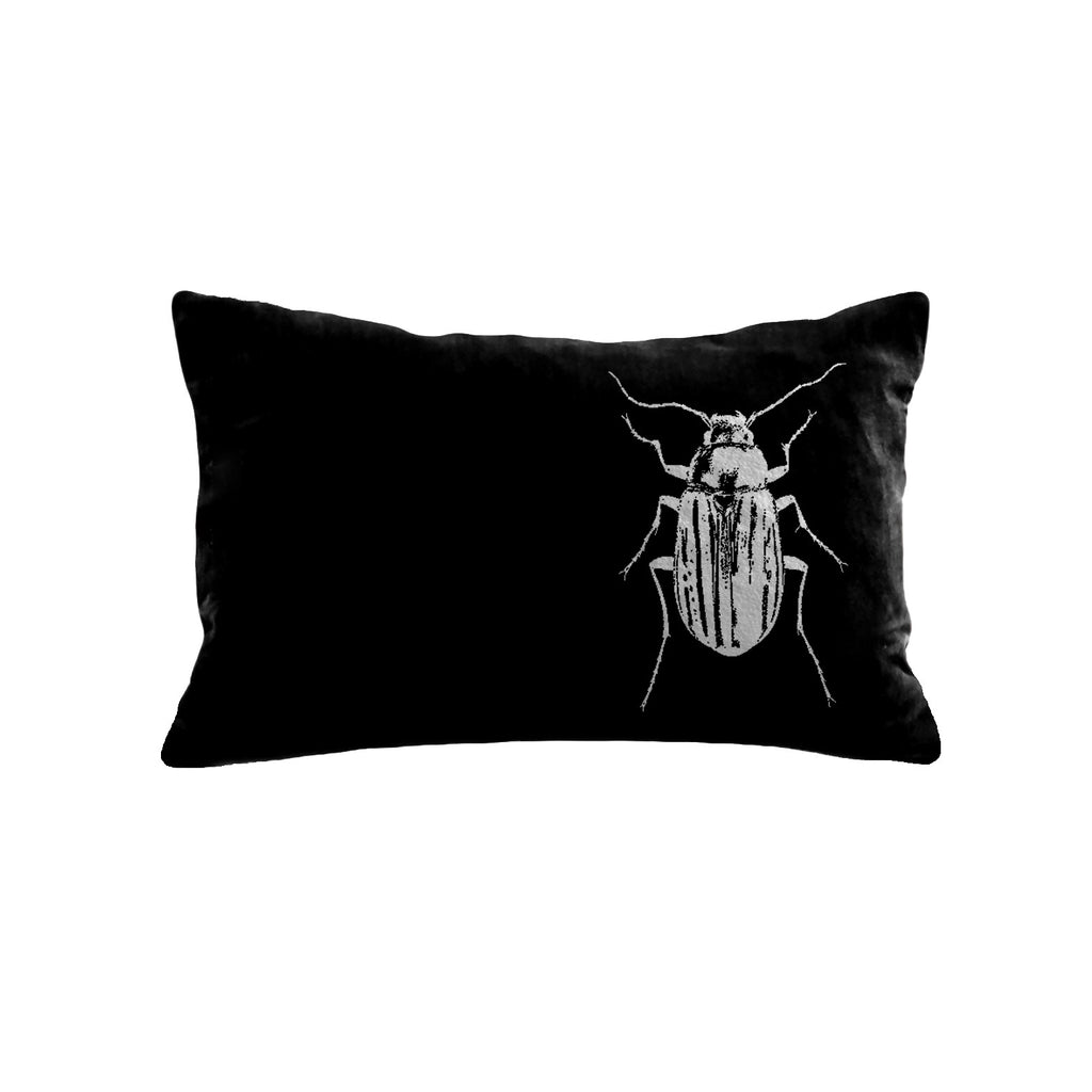 Beetle Pillow - black / gunmetal foil / 12 x 16""