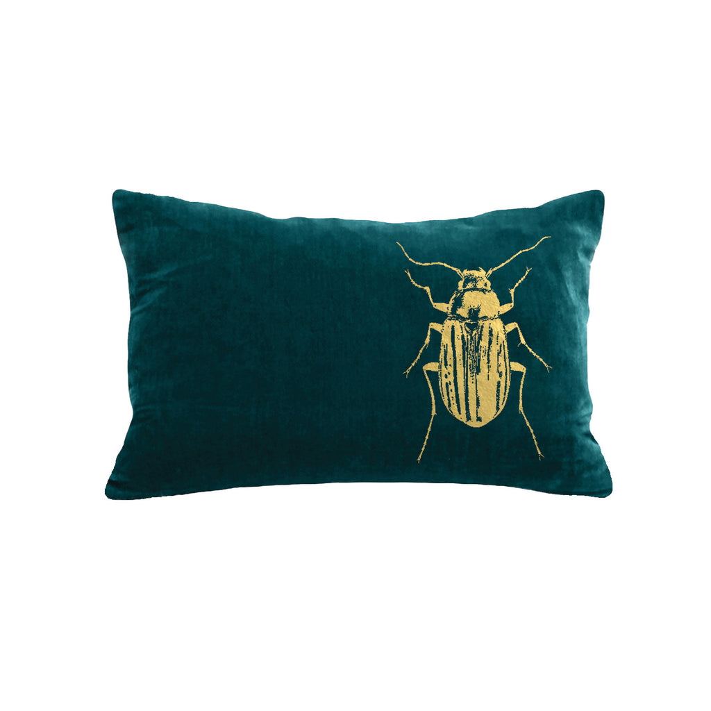 Beetle Pillow - teal / gold foil / 12 x 16""
