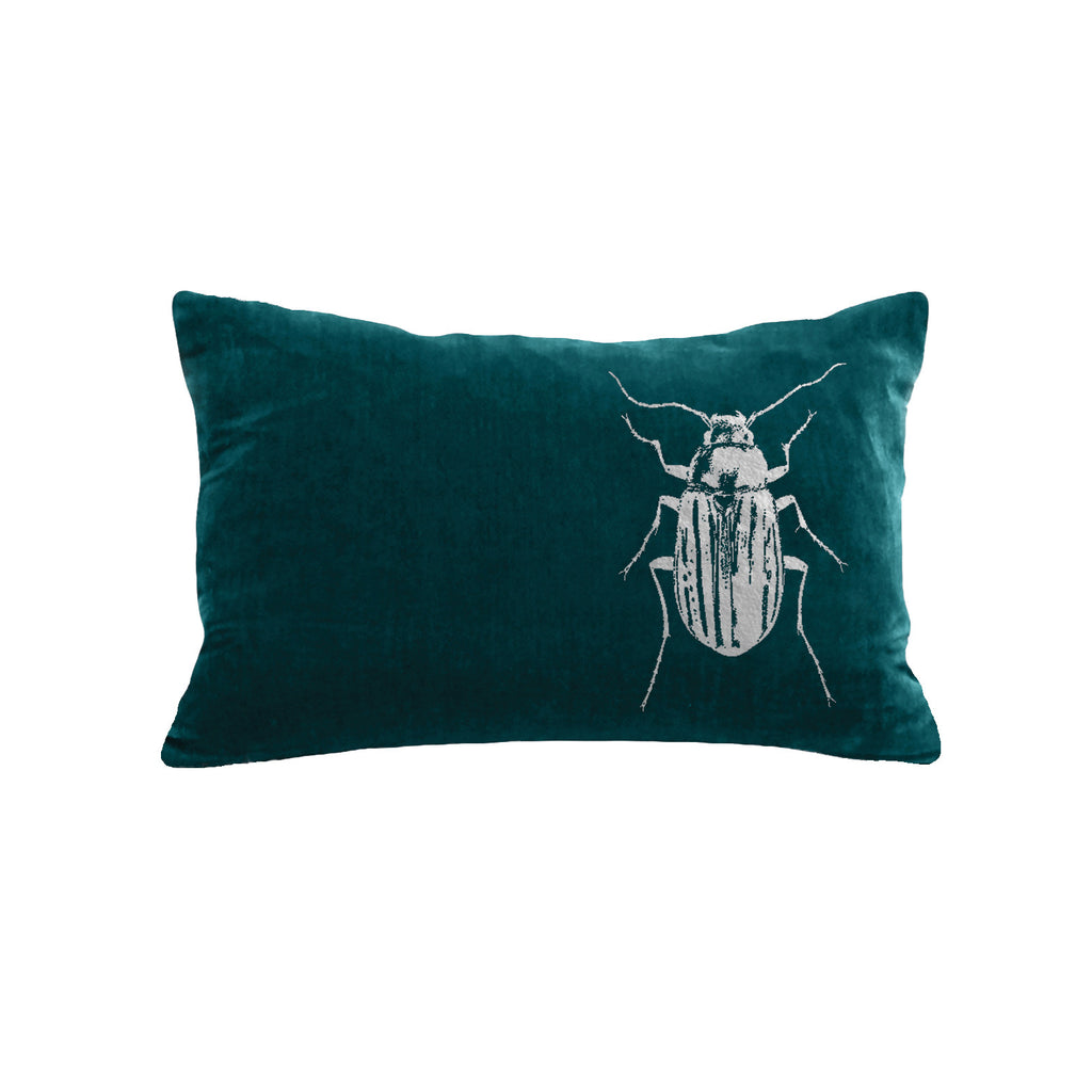Beetle Pillow - teal / gunmetal foil / 12 x 16""