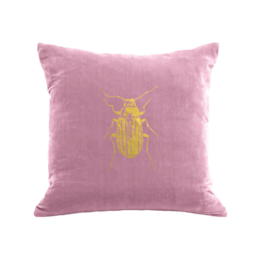 Beetle Pillow - antique pink / gold foil / 18 x 18""