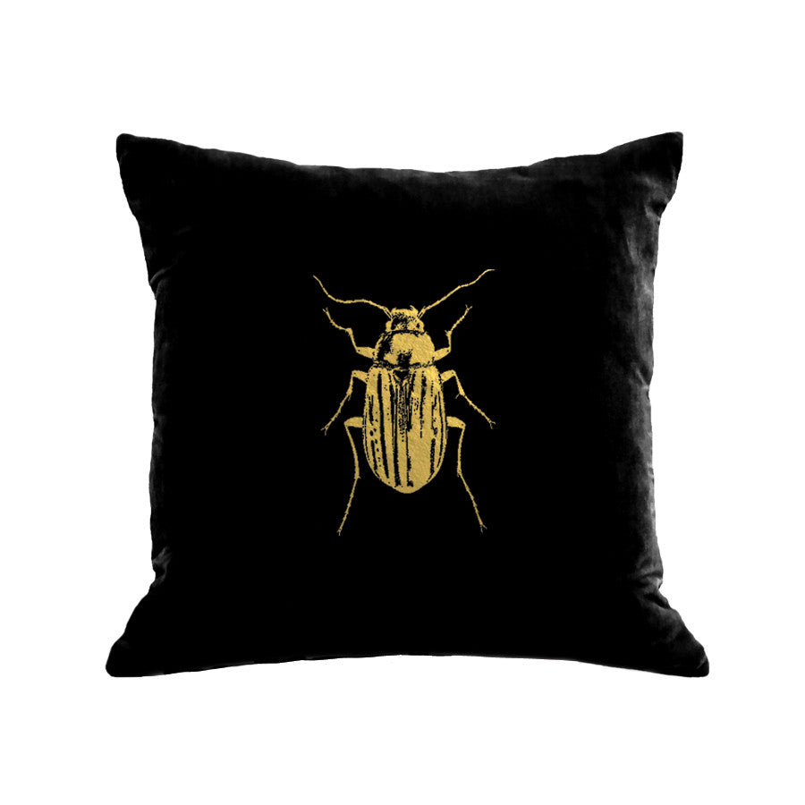 Beetle Pillow - black / gold foil / 18 x 18""