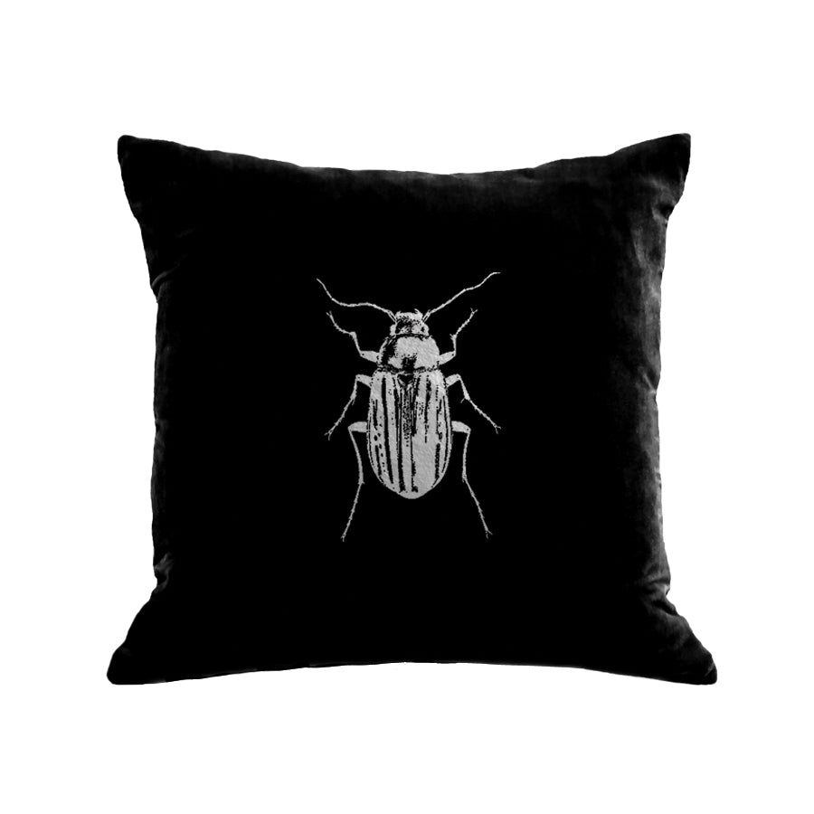 Beetle Pillow - black / gunmetal foil / 18 x 18""