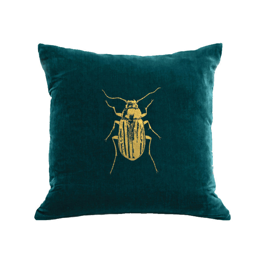 Beetle Pillow - teal / gold foil / 18 x 18""