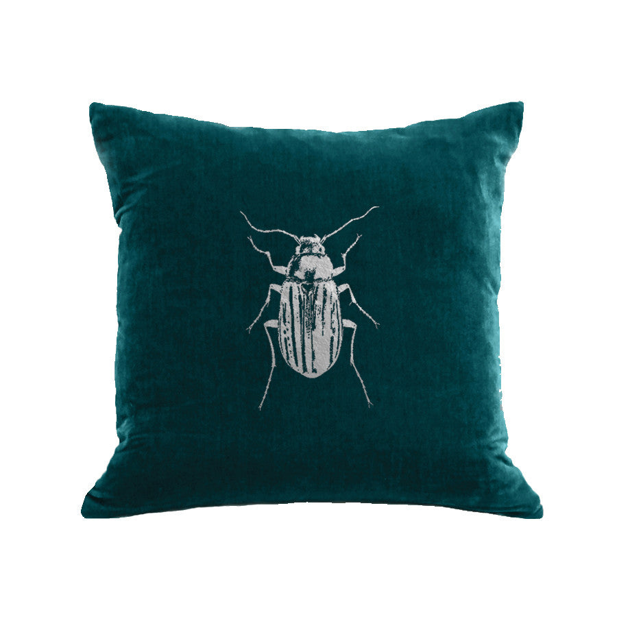 Beetle Pillow - teal / gunmetal foil / 18 x 18""