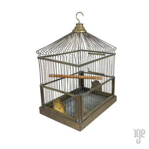 Crown Vintage Brass Birdcage c.1920-30's