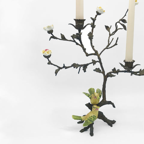 Porcelain & Bronze Floral Birds on Branch Candelabra