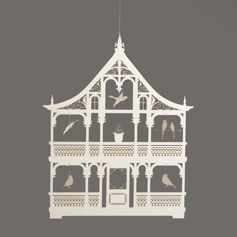 Bird House Mobile - ivory paper