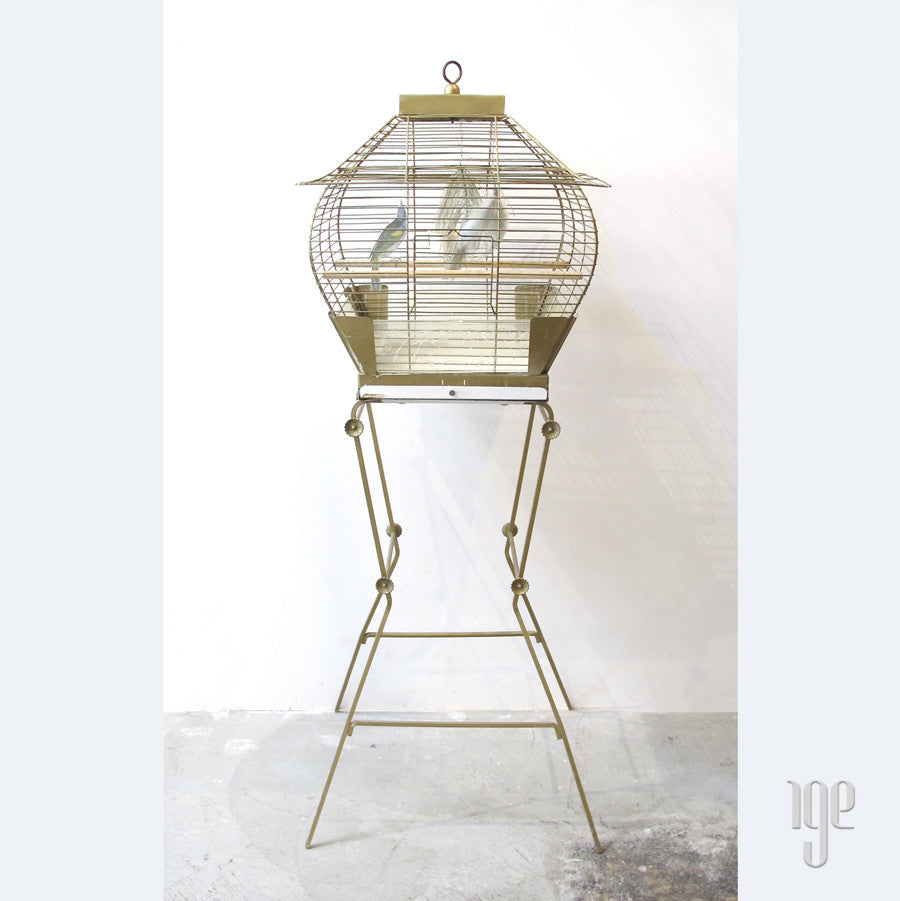 50s Hollywood Regency Bird Cage with Pedestal Stand