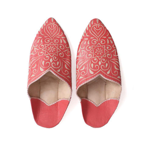 Moroccan Decorative Bohemian Slippers | Coral