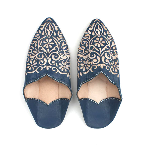 Moroccan Decorative Bohemian Slippers | Indigo