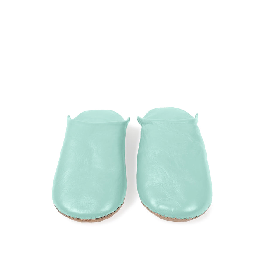 Moroccan Babouche Classic Leather Slippers | Duck Egg