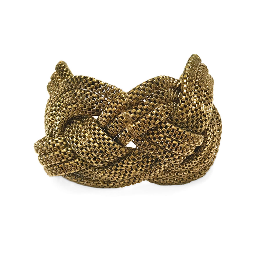 Vintage Braided Chain Carrick Knotted Brass Bracelet