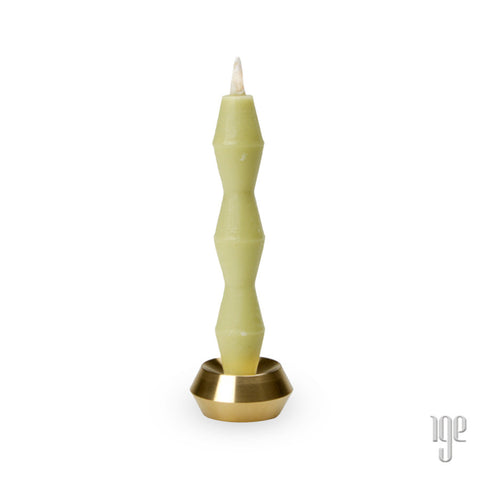 Japanese Brass Candle Holder: Groove