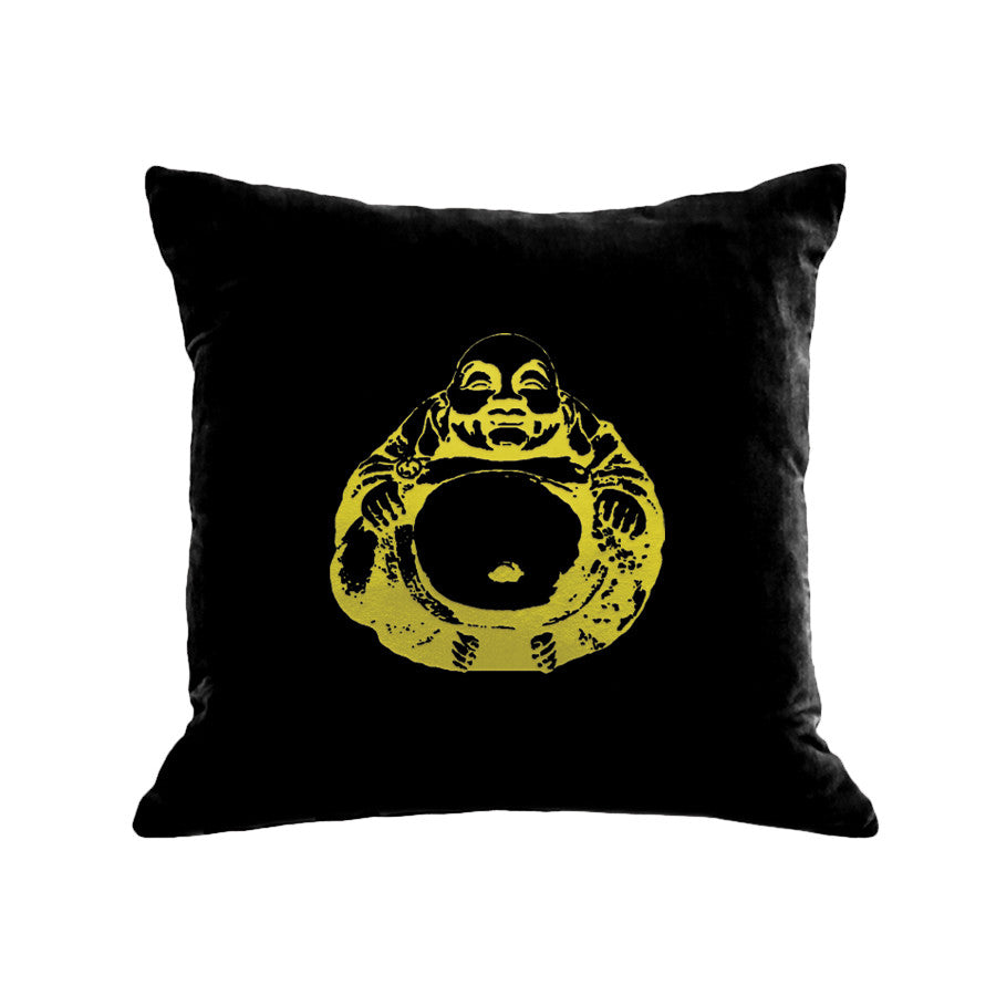 Buddha Pillow - black / gunmetal foil - black / gold foil