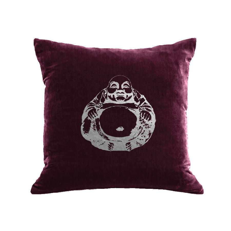 Buddha Pillow - berry / gunmetal foil