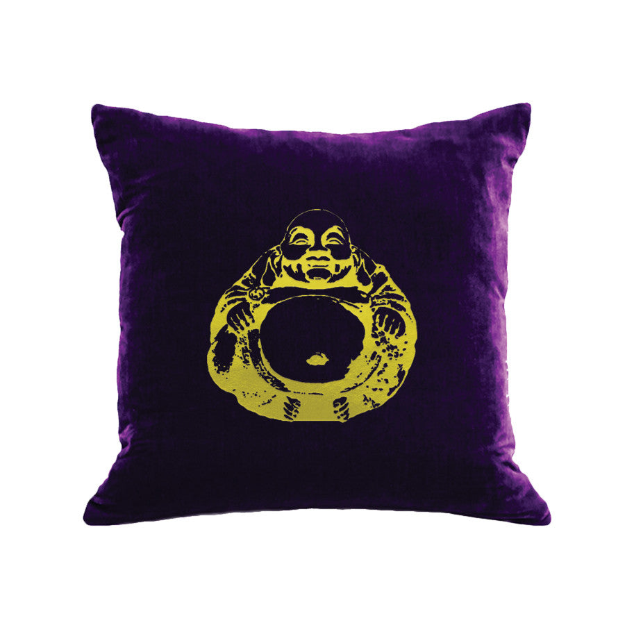 Buddha Pillow - grape / gold foil