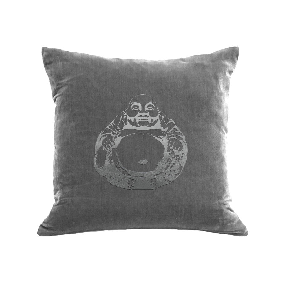 Buddha Pillow - platinum / gunmetal foil