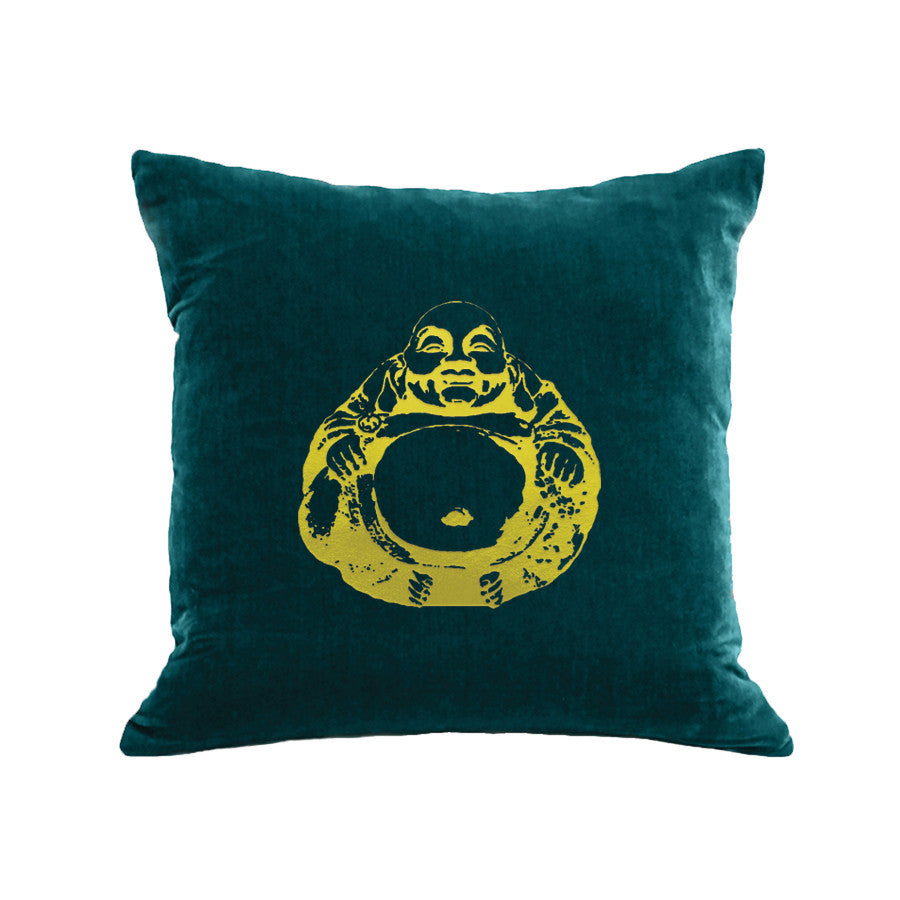 Buddha Pillow - teal / gold foil