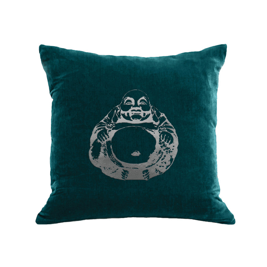 Buddha Pillow - teal / gunmetal foil