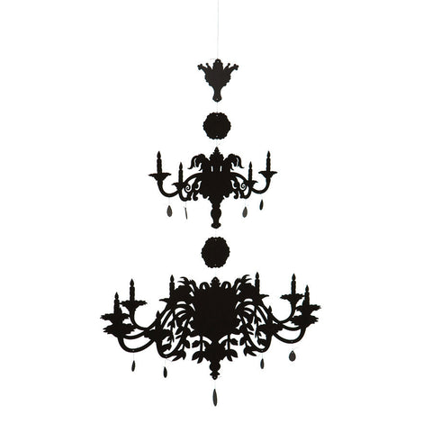 Chandelier Mobile - small / black paper - Xlg / black paper - XXlg / black paper