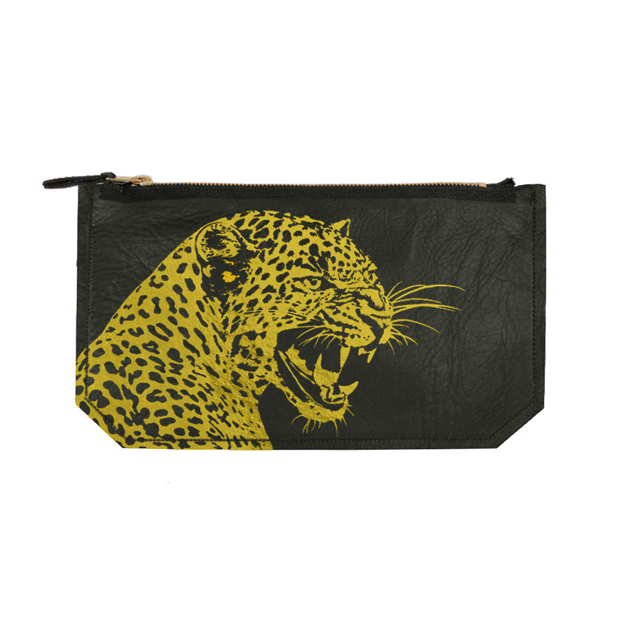 leather leopard clutch