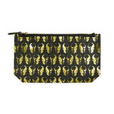 leather skull print clutch - black / gold foil