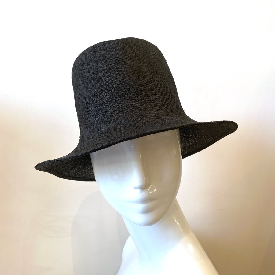 Contandino Fedora Crown Straw Hat Black | Italy
