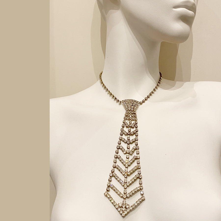 Vintage Diamanté Faux Tie Necklace